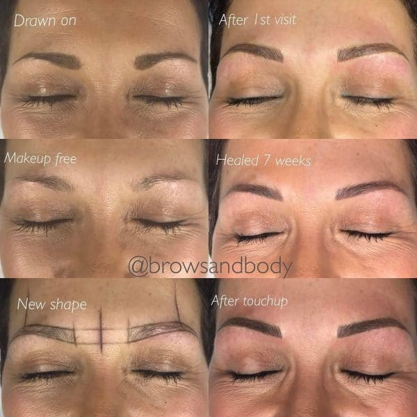 Microbladed brows 7 weeks after initial with touchup