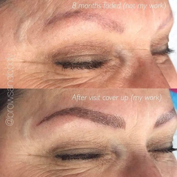 Microblading to cover up permanent make up