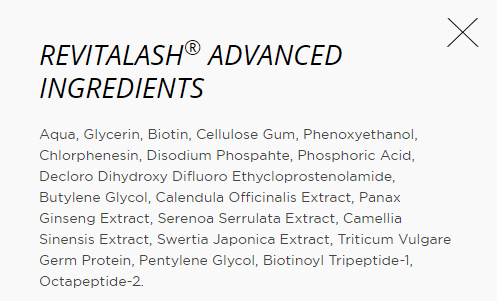 revitalash ingredient list